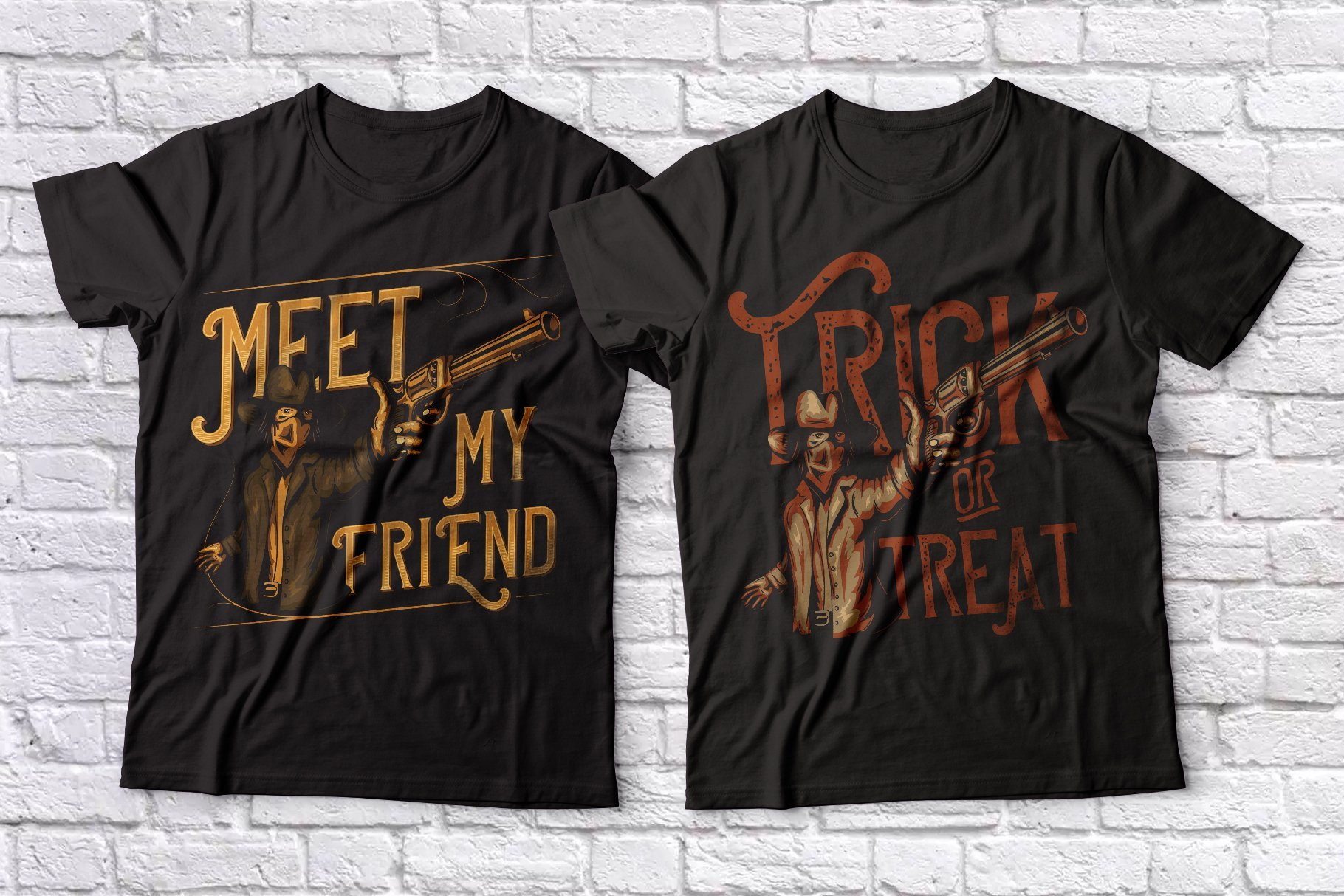 Two dark T-shirts with themed graphics and type.