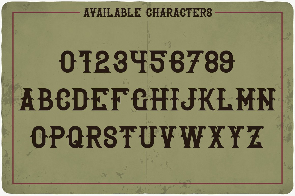 Available characters of Rover Typeface.
