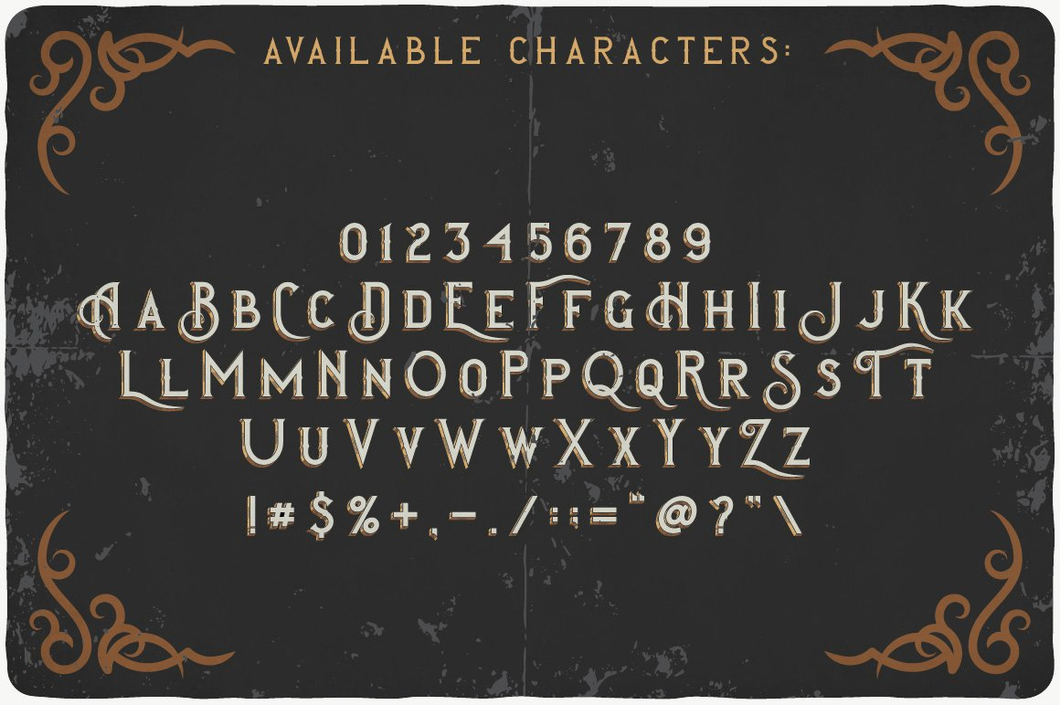 Royal Brandy Typeface available characters.