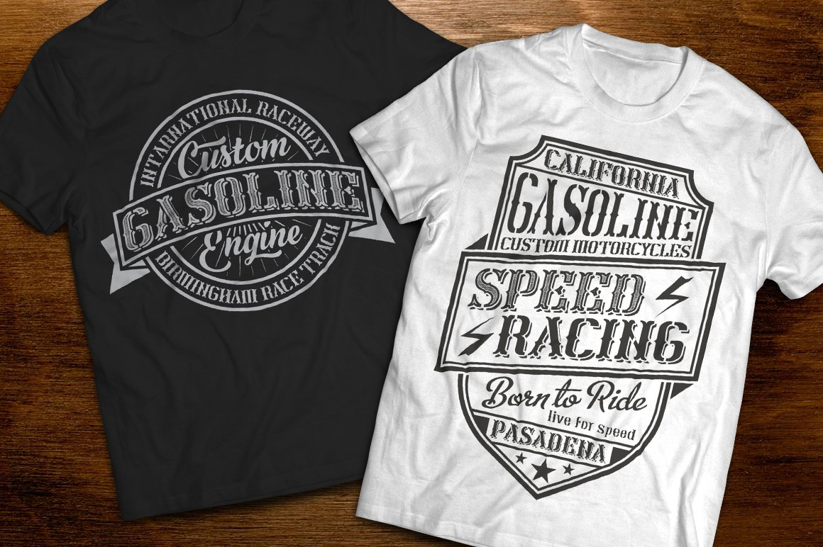 Two T-shirts - black and white with various inscriptions.