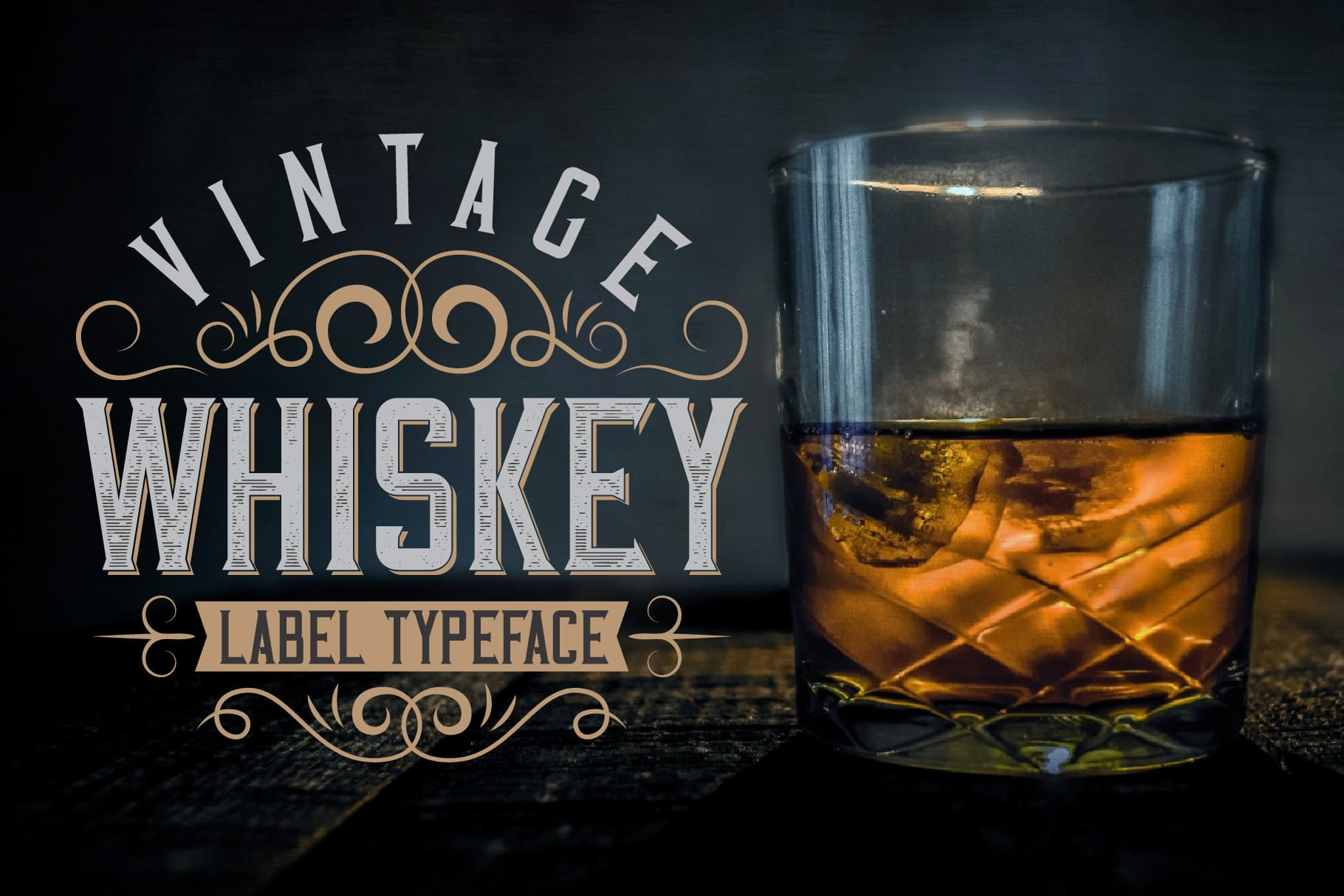 A glass of whiskey with a beautiful and stylish inscription.