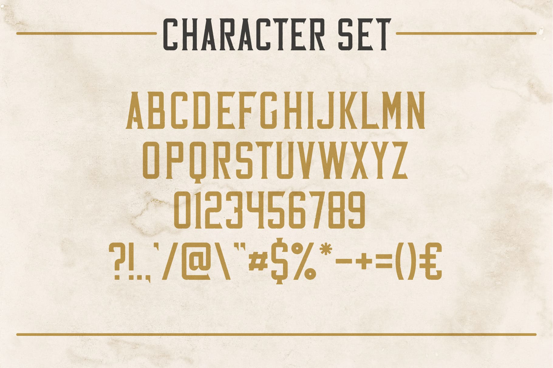 Available characters of Vintage Whiskey Typeface.