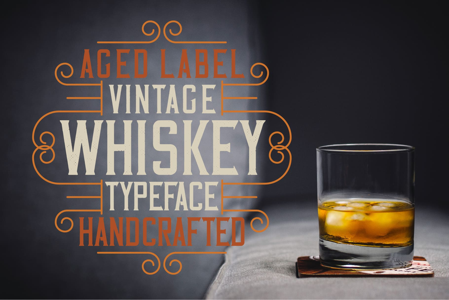 A vibrant and challenging poster with a glass of aged whiskey and multicolored lettering.