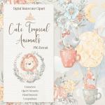 Cute Tropical animals clipart main cover.