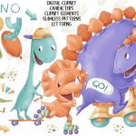 Dino boys clip art set main cover.