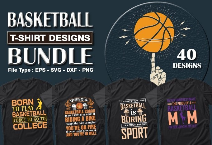 Title slide of basketball sport t-shirt designs.