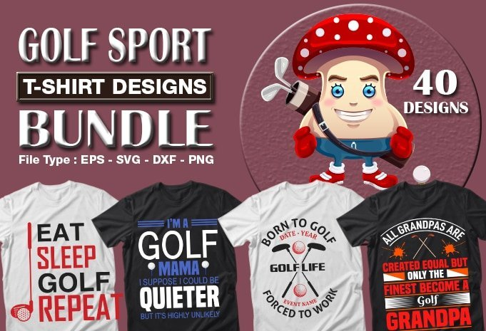 Title slide of golf quotes t-shirt designs.