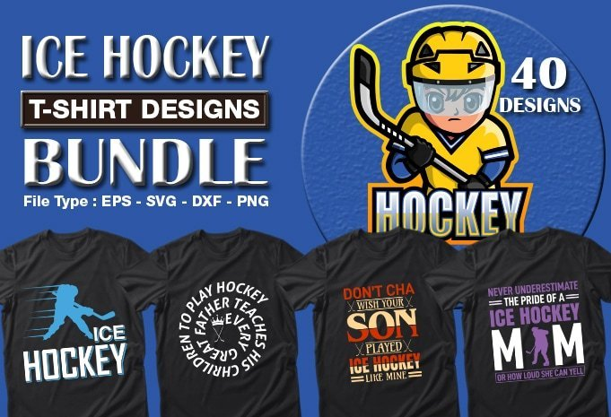 Title slide of ice Hockey quotes t-shirt designs.