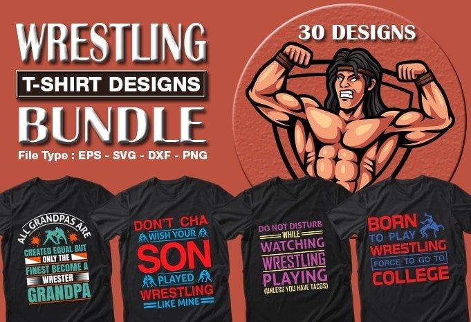 Title slide of wrestling sport t-shirt designs.
