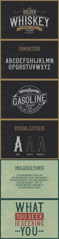 Golden Whiskey Typeface for pinterest.