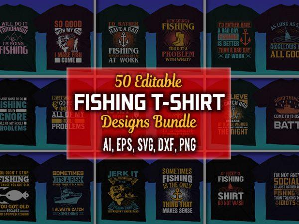 Title slide of fishing t-shirt designs.