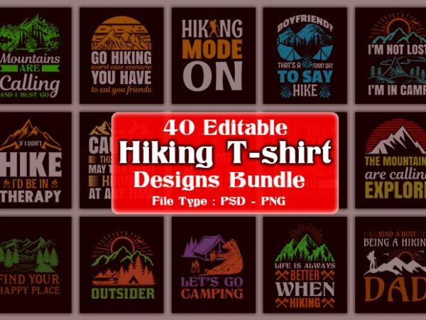 Title slide of hiking t-shirt designs.