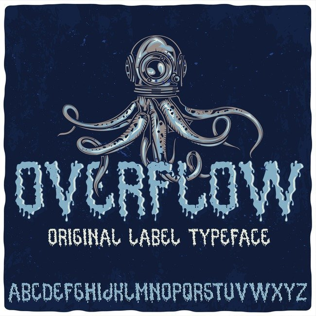Overflow typeface main cover.