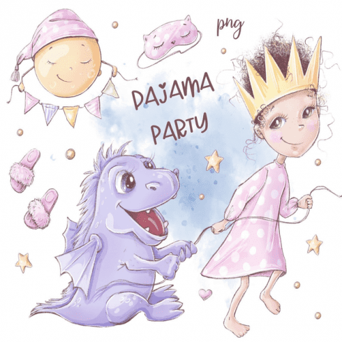 Pajama party clipart and seamless main cover.