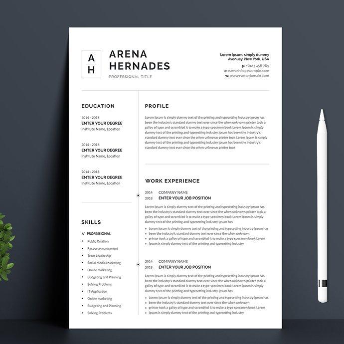 Minimalist Resume Template.