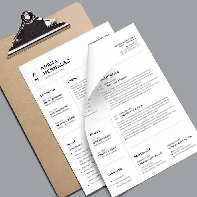 Minimalist Resume Template cover.