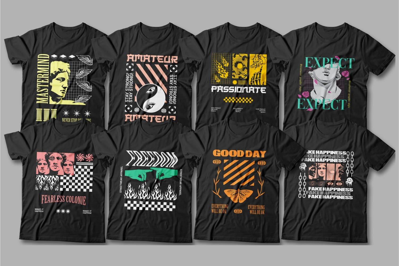 Dark t-shirts with art graphics.