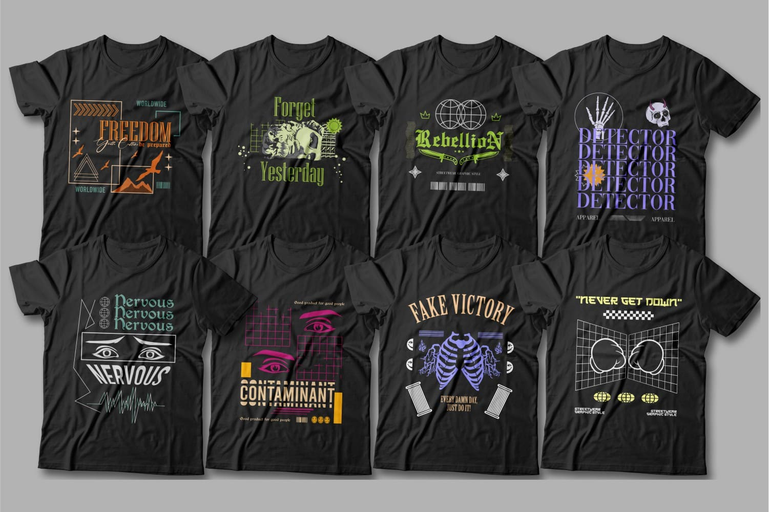 Black t-shirts with neon graphics and modern letterings.