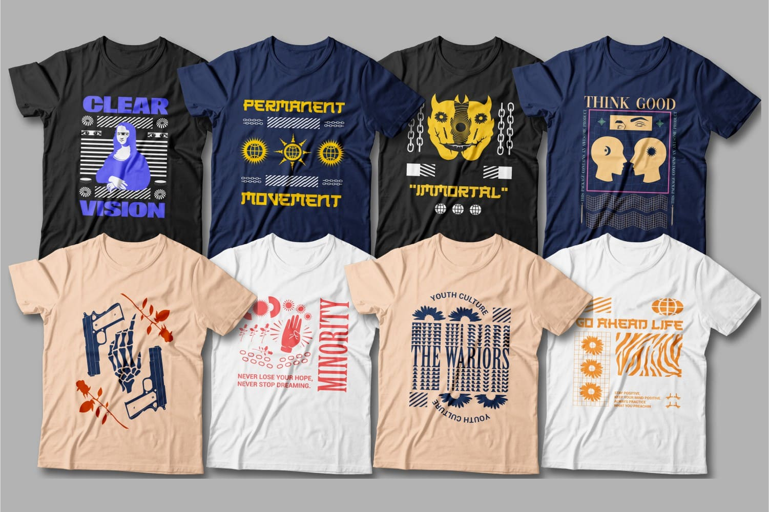 Colorful t-shirts with creative and extraordinary graphics.