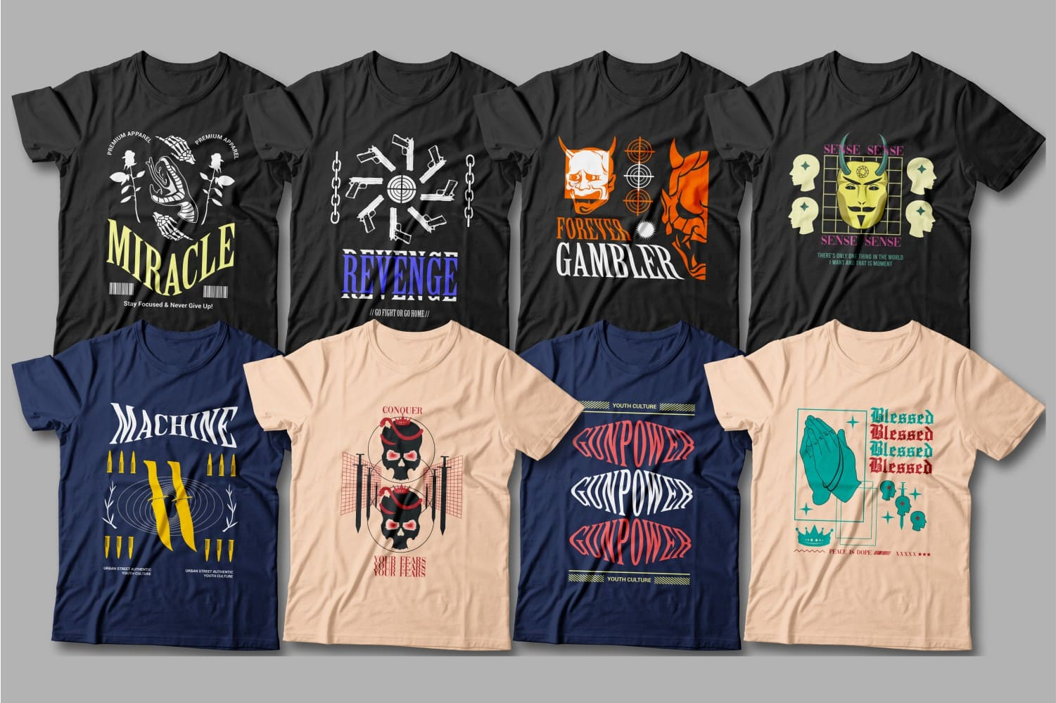 T-shirts in different colors with demon graphics.
