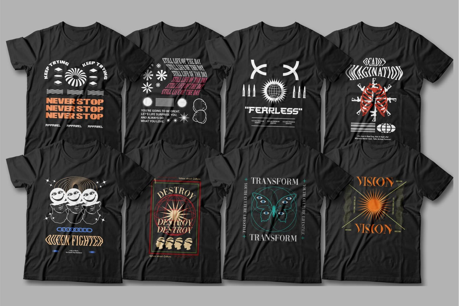 Black t-shirts with contemporary design.