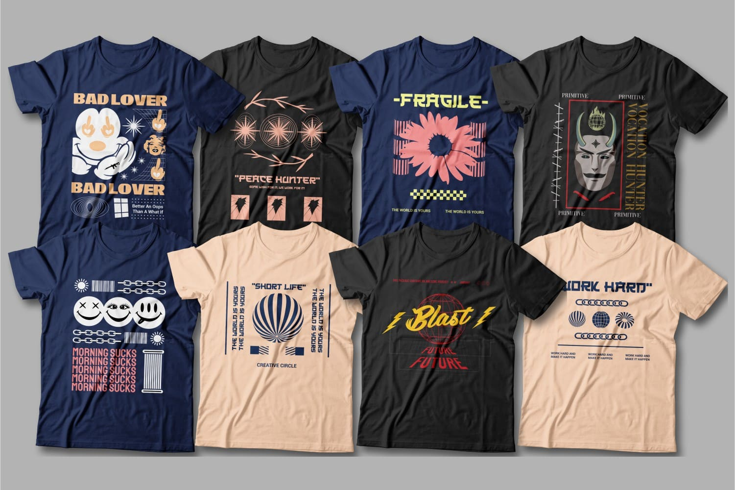 Classical t-shirts in dark colors.