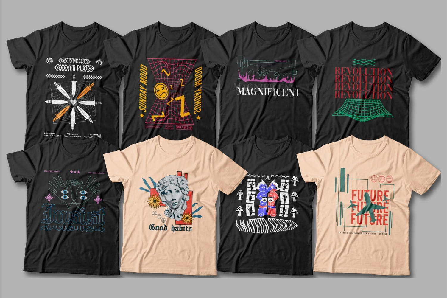 Modern black t-shirts with high-quality graphics.