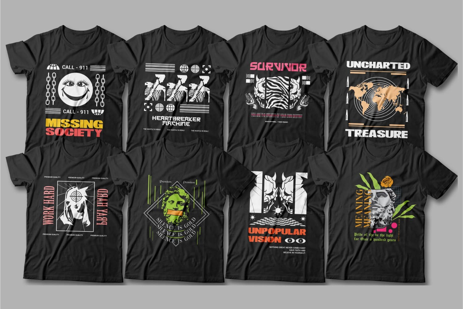 Creative and diverse T-shirts with graphics in different colors.