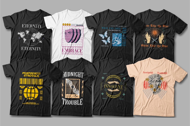 Aesthetic design black t-shirts.