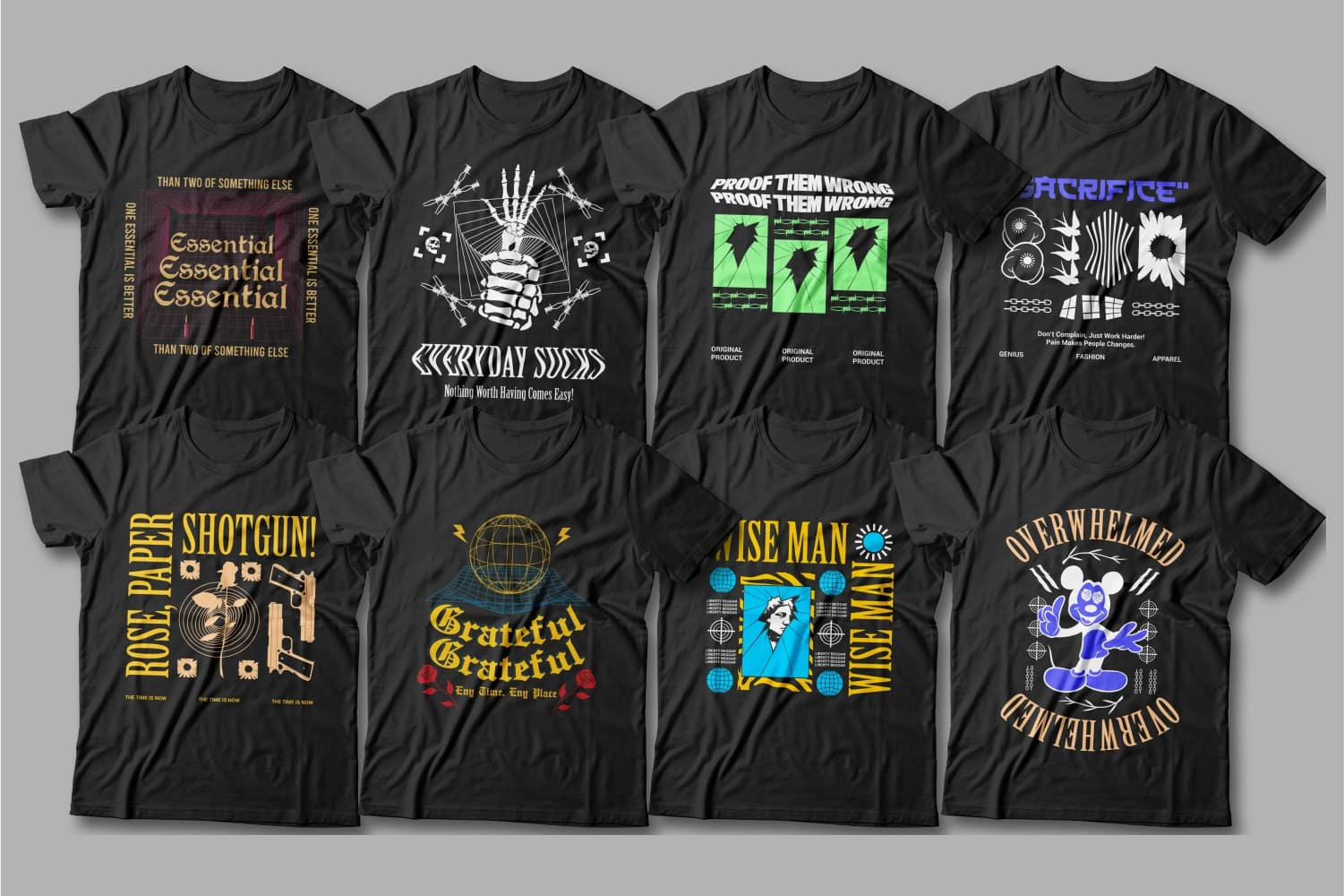 Black t-shirts with bright pictures.