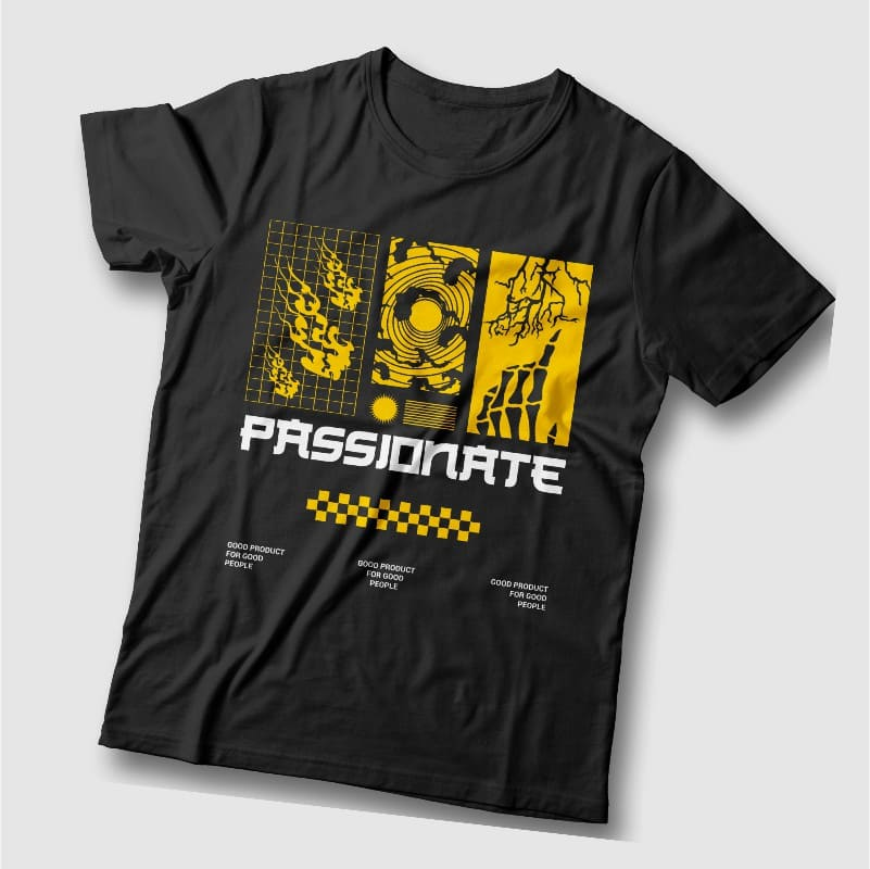 Black t-shirts with yellow graphic.
