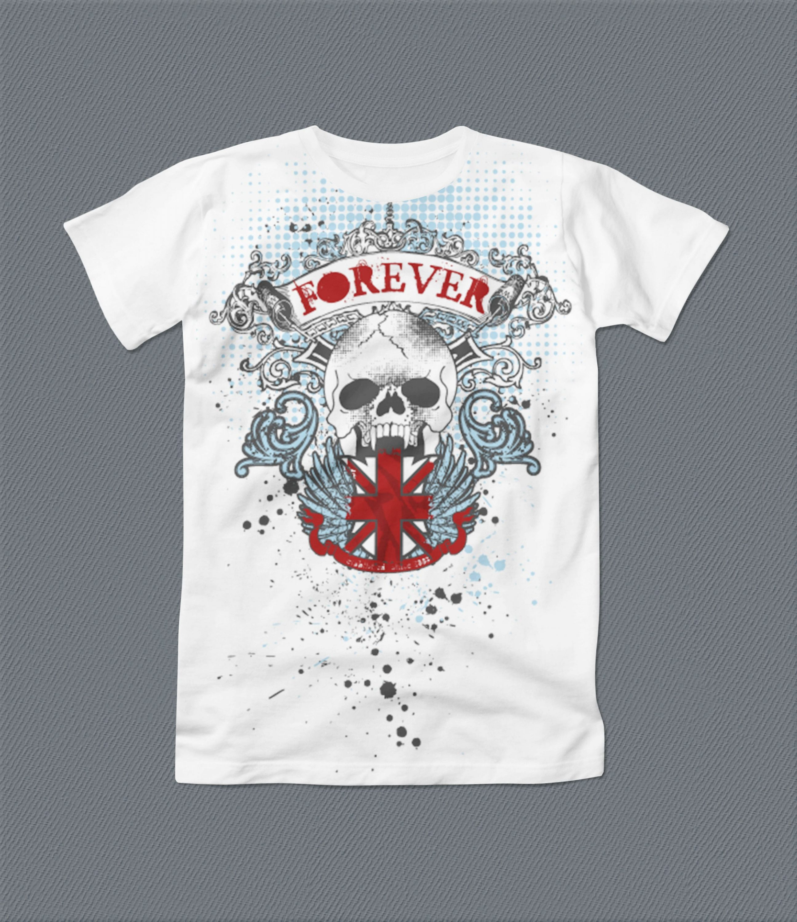 White t-shirt with scull.
