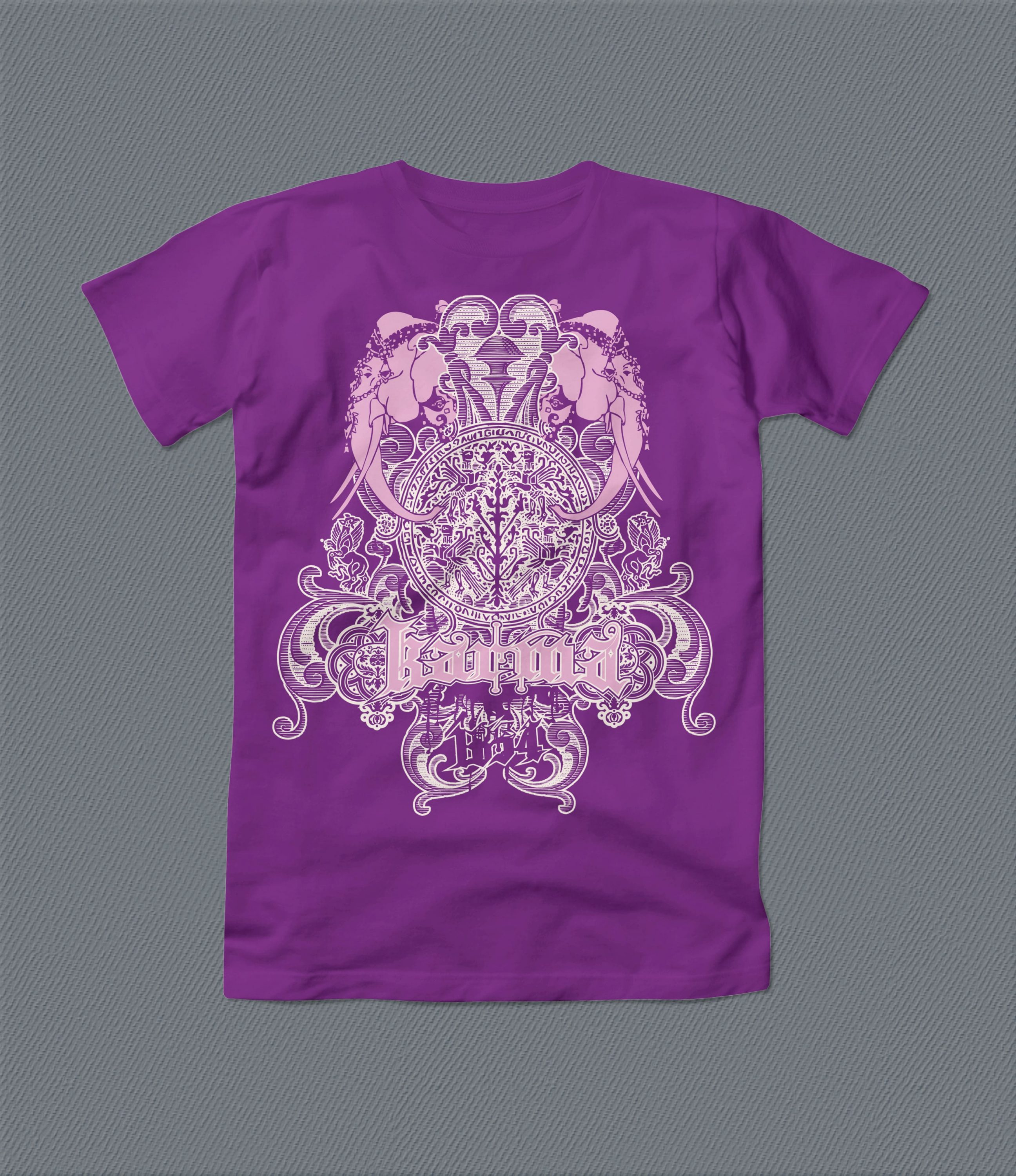 A purple t-shirt with mandlala and other magical ornaments.