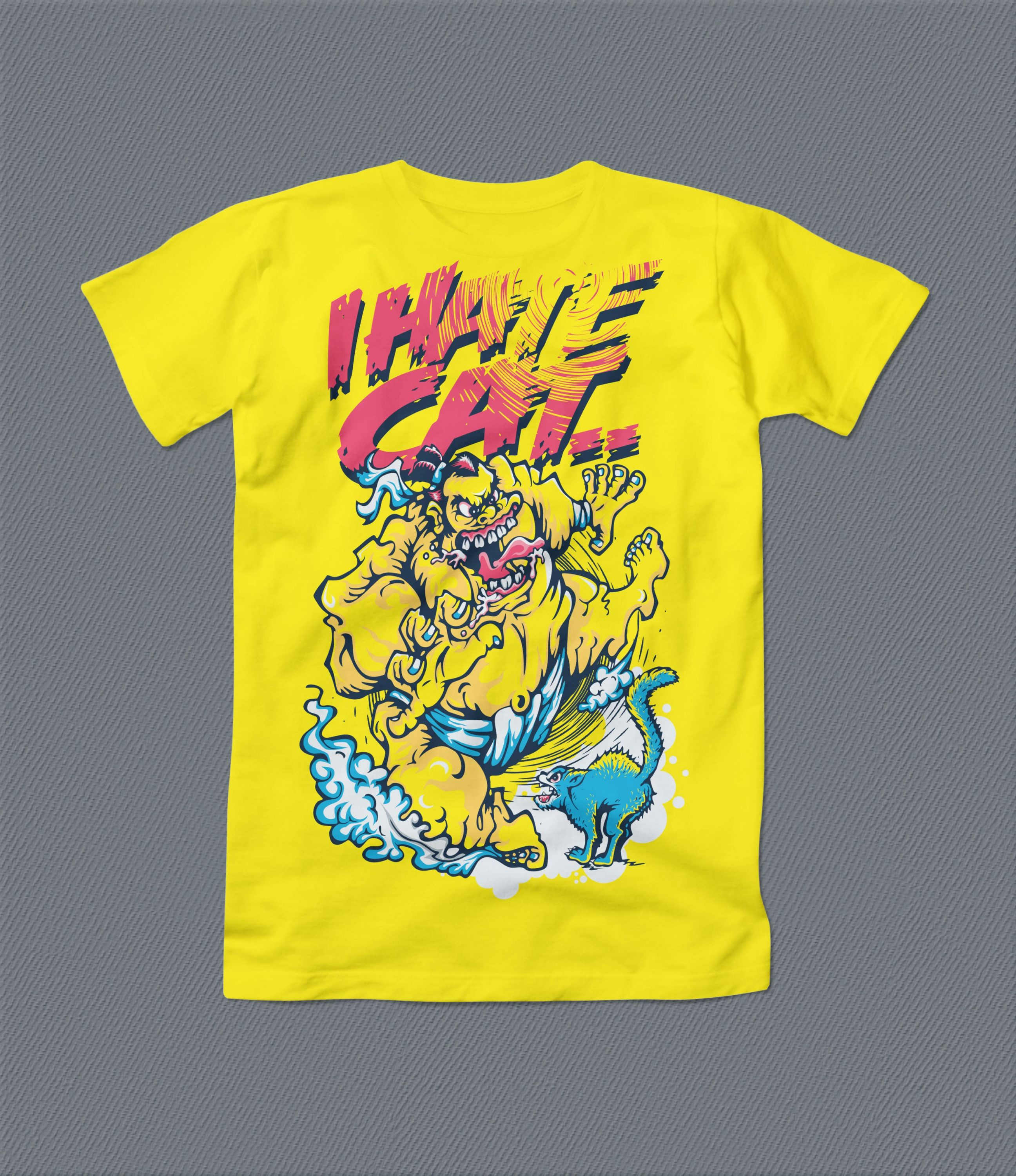 Yellow high quality t-shirt with strange monster.