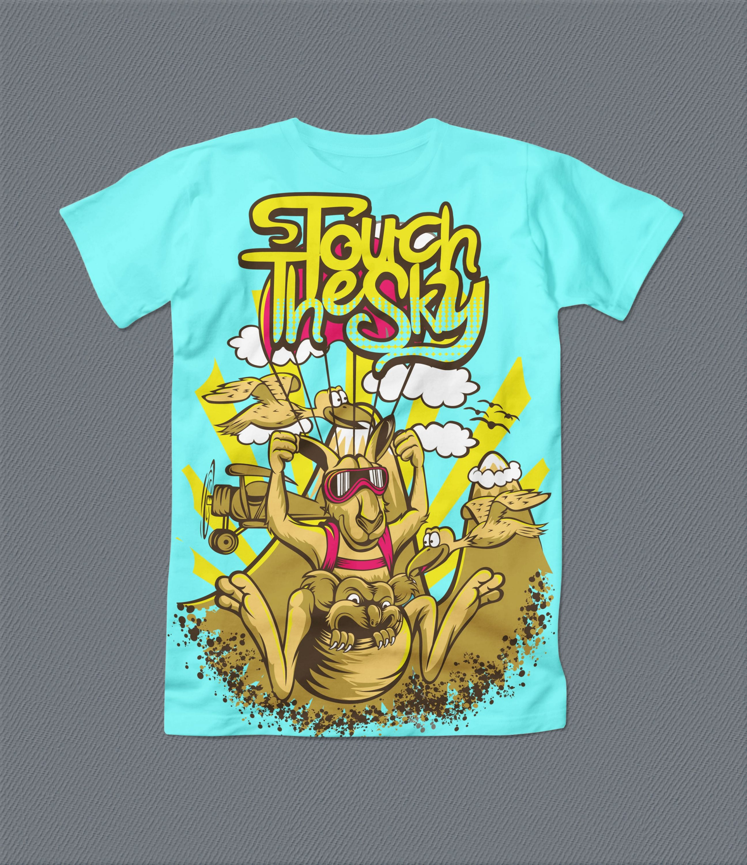 Bright blue t-shirt with funny kangaroo and colorful font.
