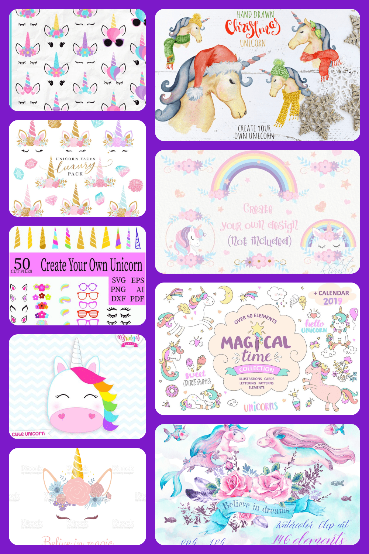 Unicorn collage for pinterest.