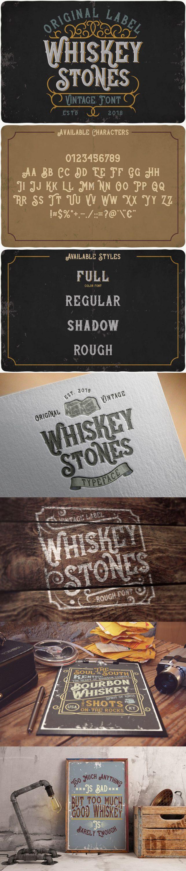 Whiskey stones typeface for pinterest.