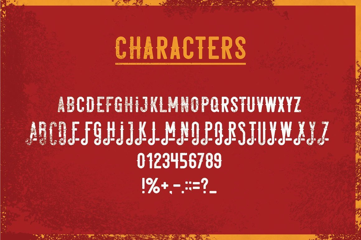 Available characters of Garage Typeface.