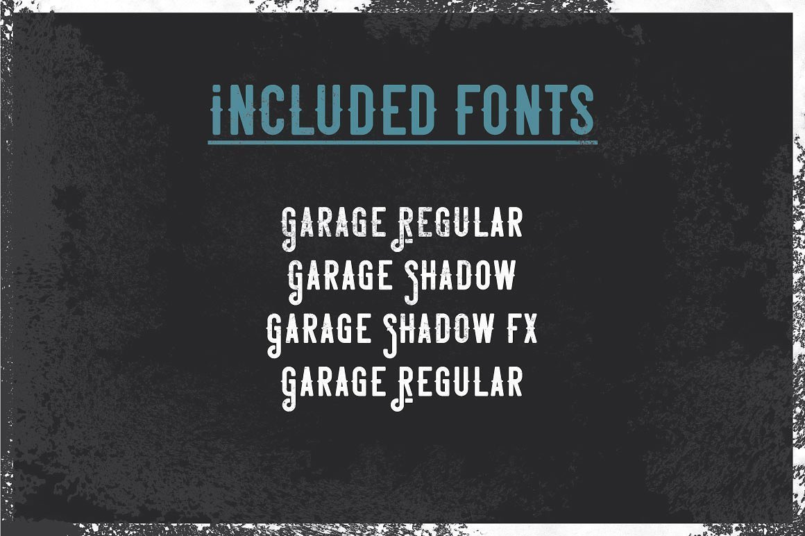 Included fonts in Garage Typeface.