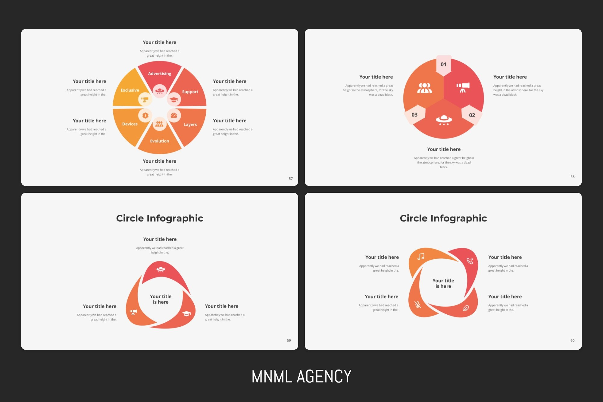 Red circle infographics with percents and texts.