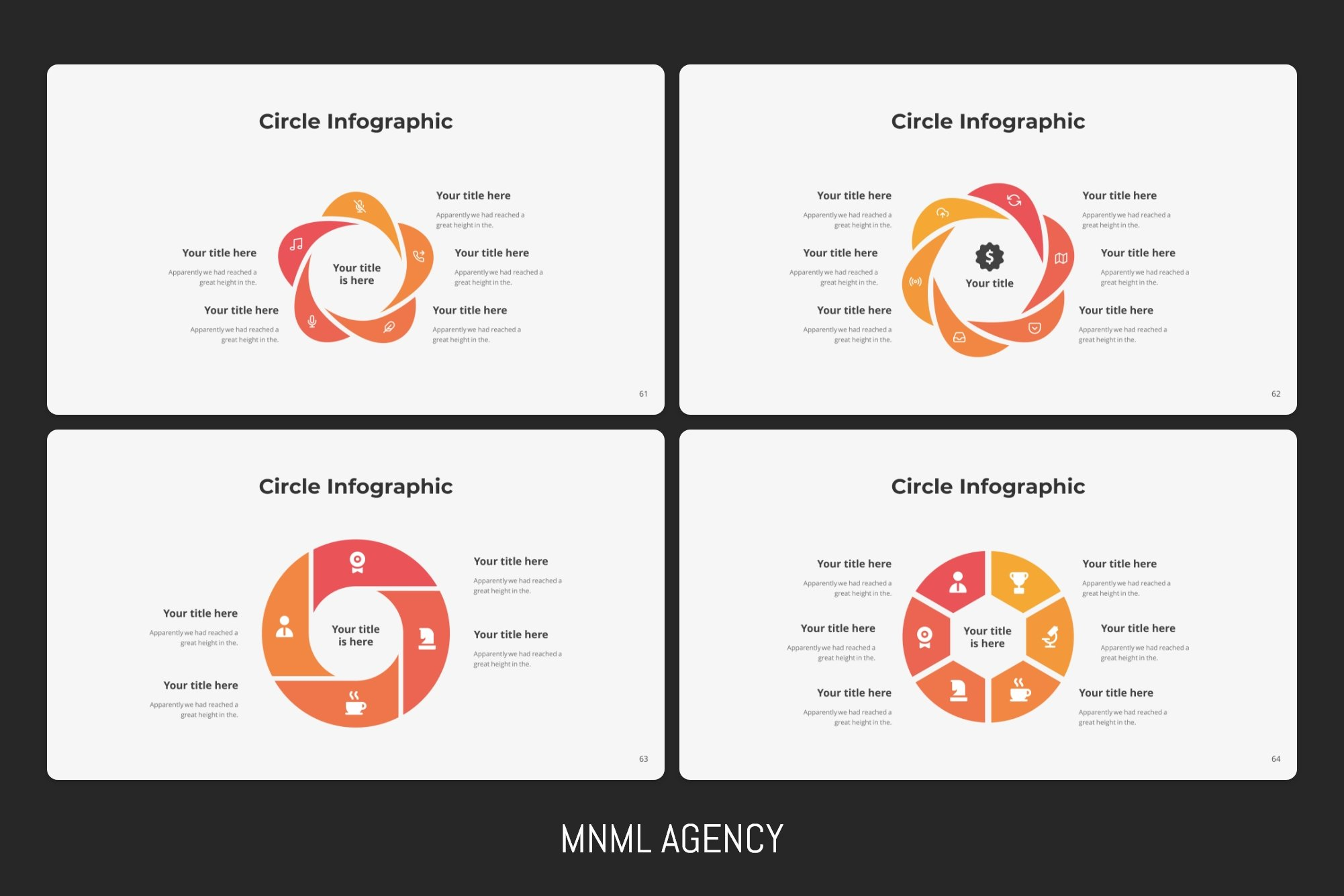 Four infographics in red color.