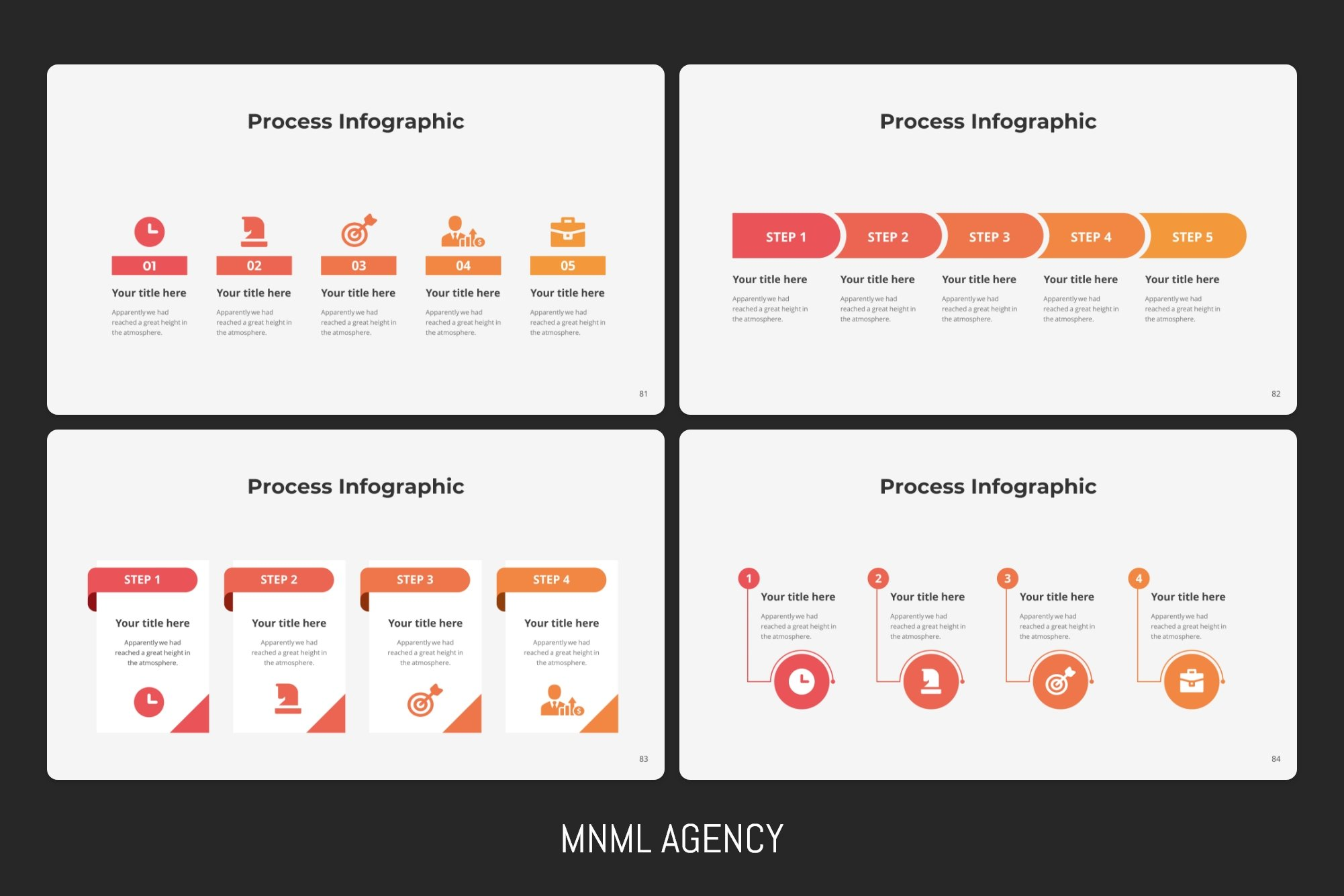Process infographics with bright elements.