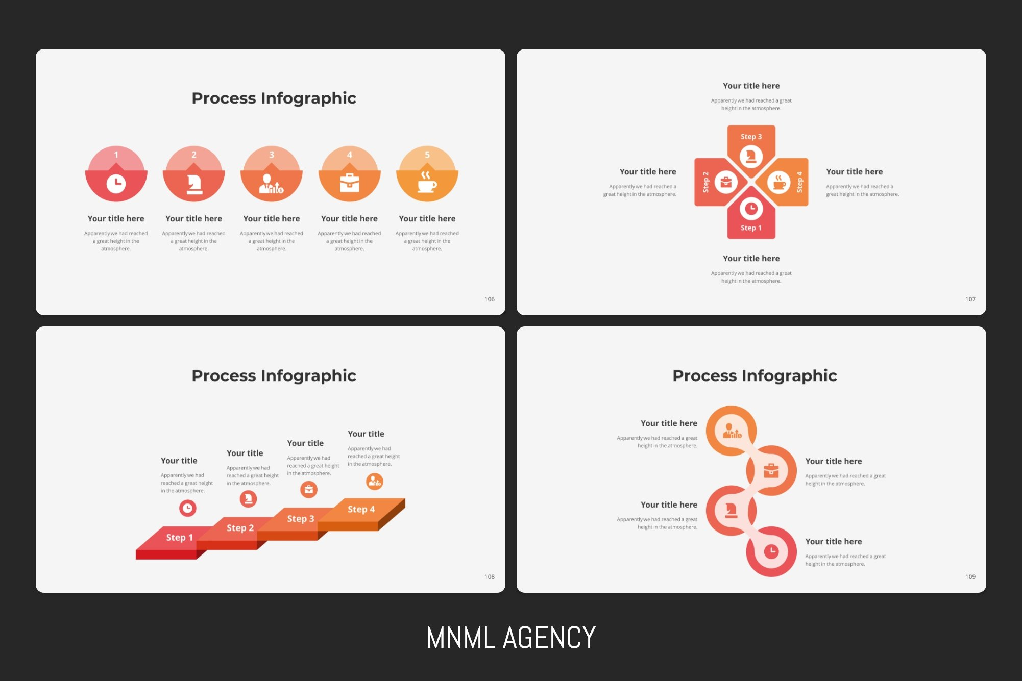 Here many Process infographics in different style.