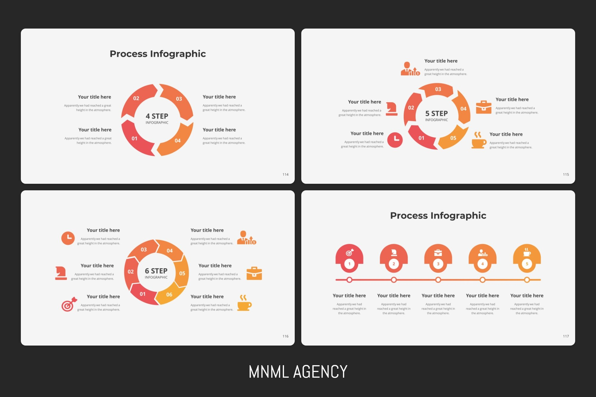 Process infographics in orange color.
