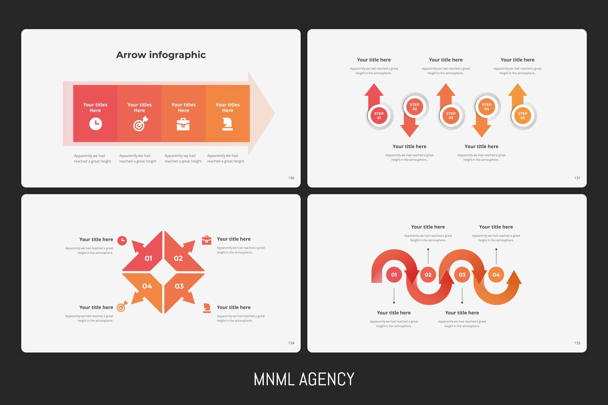 Arrow infographics in different geometric shapes.