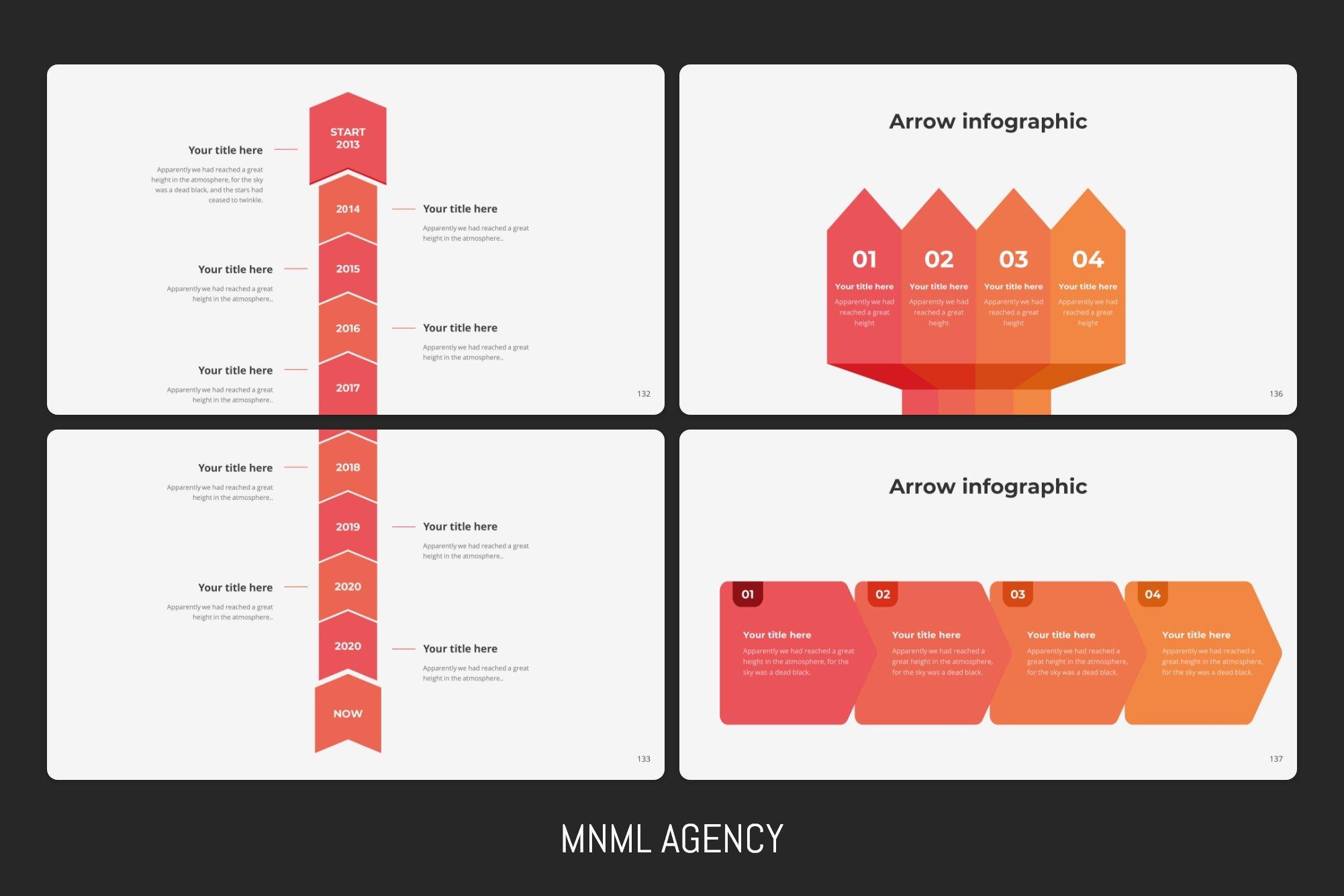 Arrow infographics in classic option.