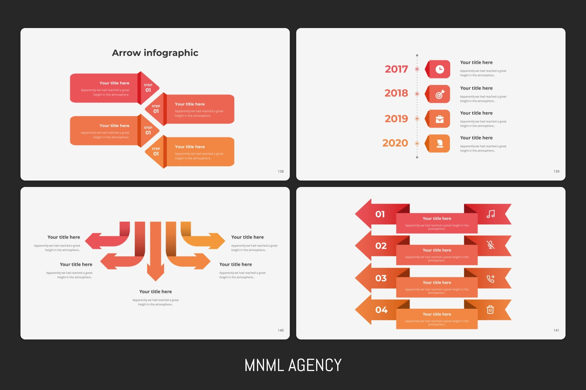 Arrow infographics with chronological information.