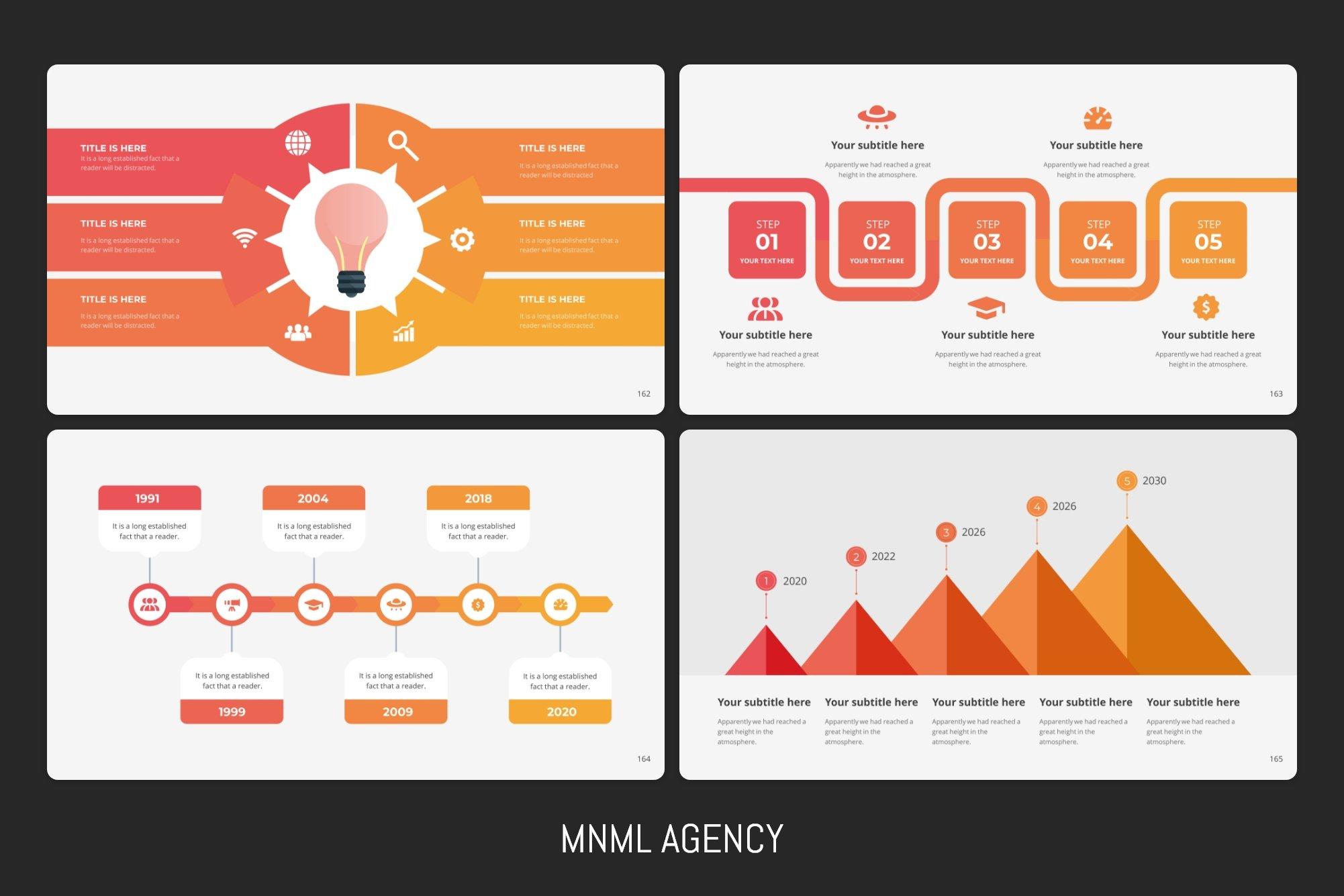 Colorful and amazing infohgraphics in different formats for business.