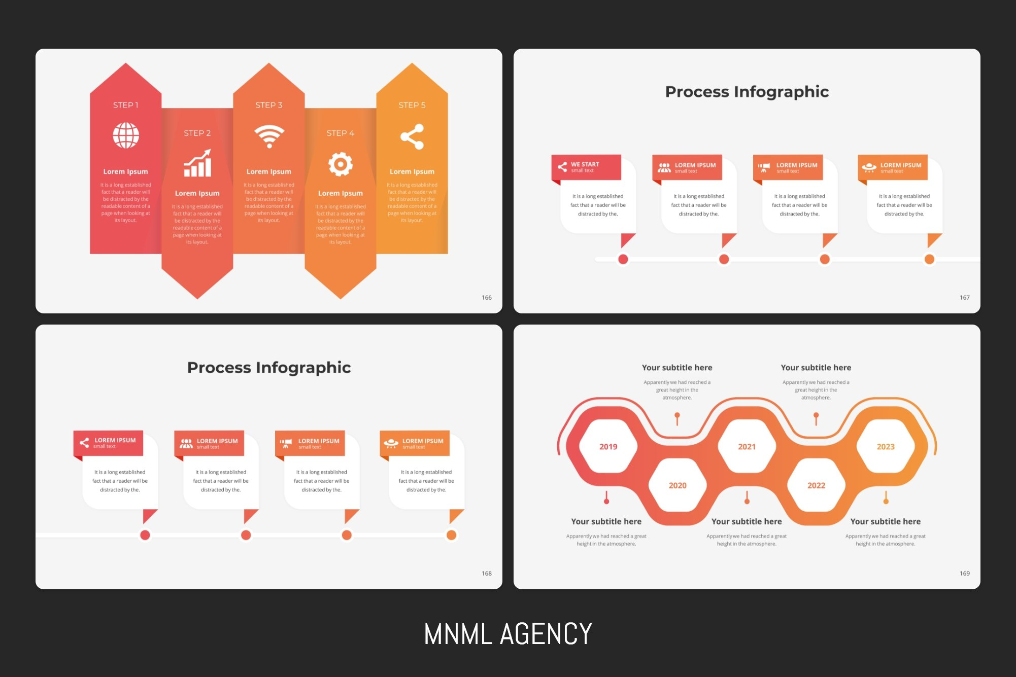 Process infographics with timelines.