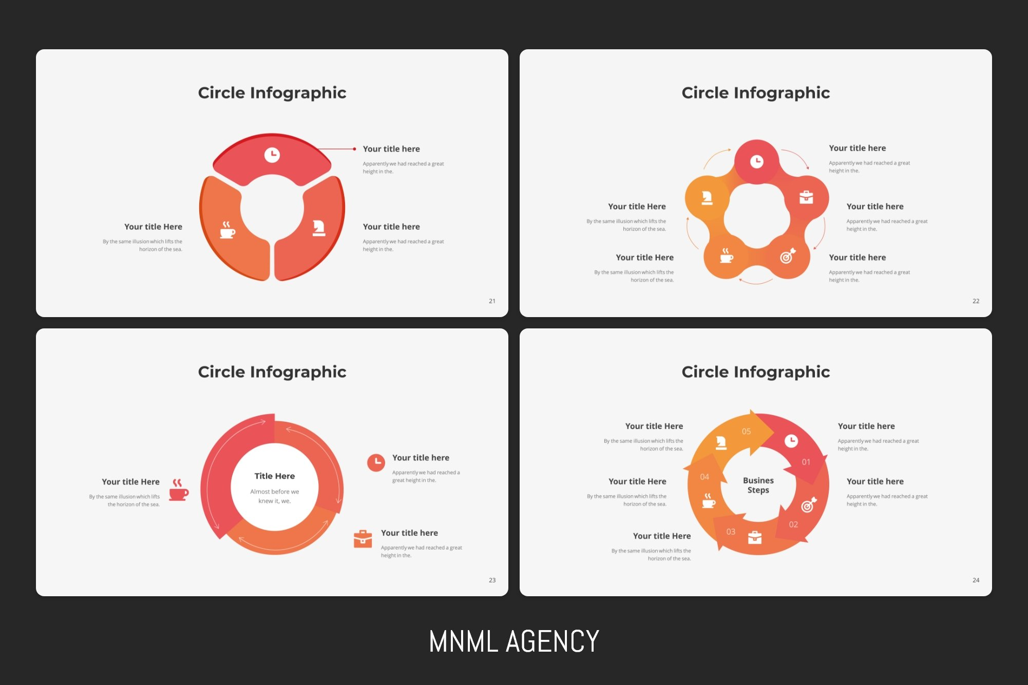 Very different variations of circular infographics.